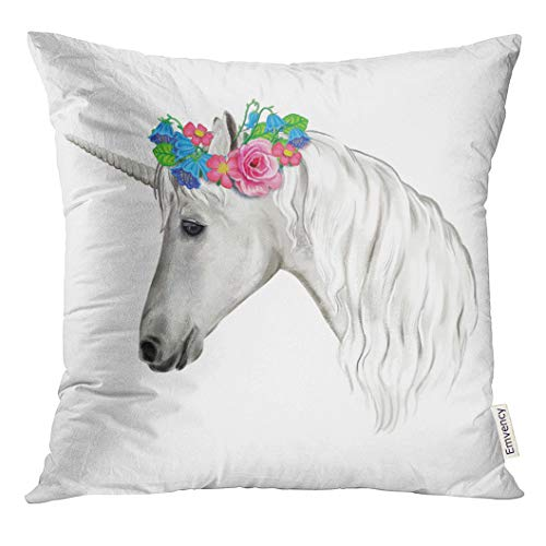 Emvency Throw Pillow Cover Blue Graphic Unicorn with Wreath of Flowers White Horse Watercolor Digital Clip Colorful Animal Decorative Pillow Case Home Decor Square 16x16 Inches Pillowcase