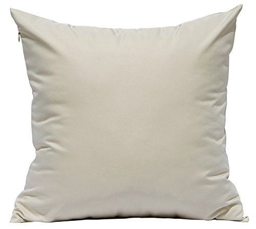 "TangDepot Durable Faux Silk Solid Pillow Shams - (12""x12"", Light Khaki)"