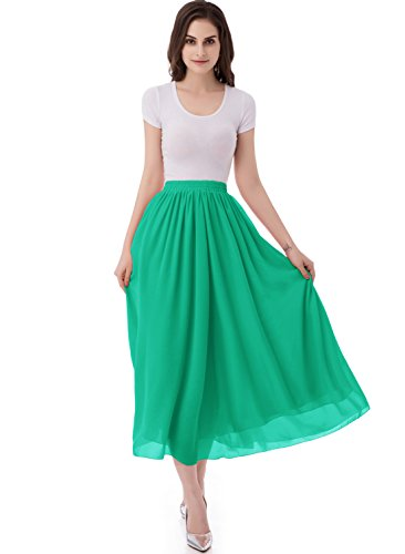 Pleated Chiffon Mini Skirt - emondora Women's Chiffon Long A-line Retro Skirts Pleated Beach Maxi Skirt Green Size XL