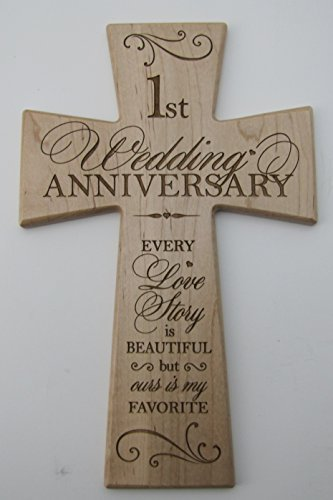 Amazon Ruskin352 1st Wedding Anniversary Maple Wood Wall Cross