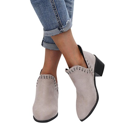 Amiley Women Boots Autumn, Women Ladies Autumn Shoes Ankle Solid Martin Roman Short Boots Single Casual Shoes (Gray, 5)