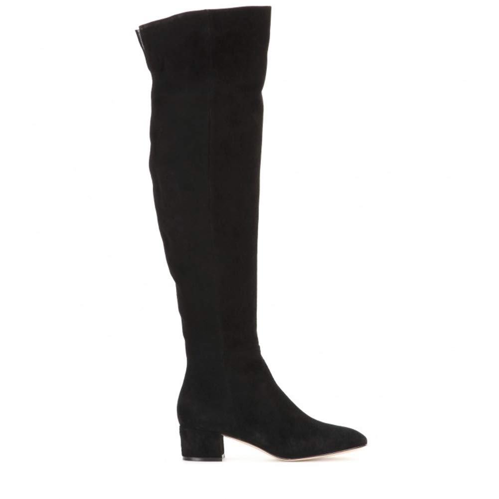 Black Womens Ladies New Thigh High Boots Over The Knee Chunky HIGH Block Heel Boots Suede shoes Size UK 3 4 5 6 7 8
