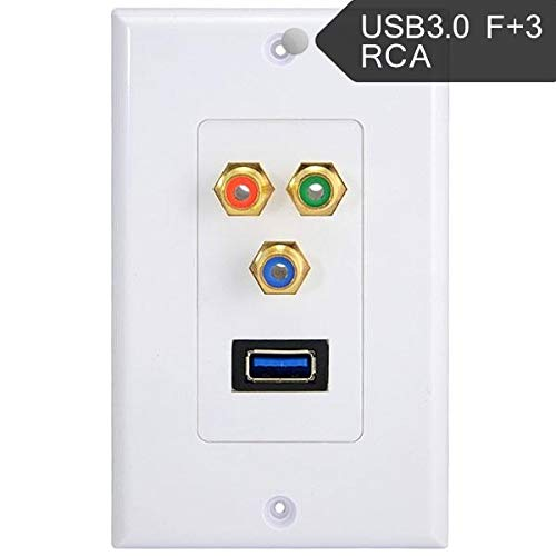 (Cables & Connectors USB 3.0 Component 3RCA Phono Female Socket AV Audio Video Outlet Wall Face Plate - (Cable Length: Other))