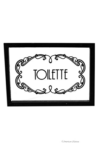 - American Chateau Clear Glass Toilette Powder Room Bathroom Wall Door Sign Plaque with Wood Frame