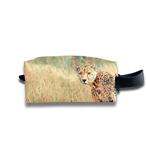 Clash Durable Zipper Wallet Makeup Handbag With Wrist Band Beautiful Cheetah Toiletry Bag for $<!--$8.50-->