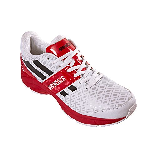 GRAY-NICOLLS – Zapatillas de críquet Atomic Full Spike Senior – blanco/rojo/negro, talla 12