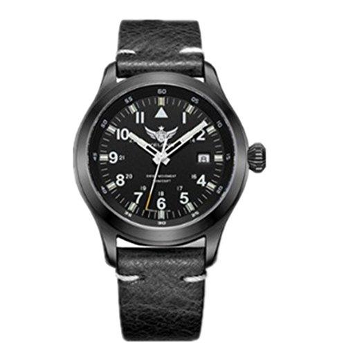 NEW Yelang Men Quartz Watch Tritium T100 Waterproof 100m Ronda Movement pilot watch Sapphire Genuine Leather Date Green Light Military Watch (2) (Quartz Ronda Movement)