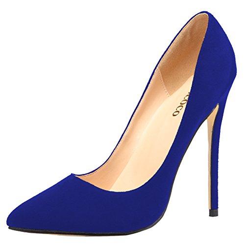 Talon Aiguille Monicoco Femmes Plus La Taille Chaussures Bout Pointu Pompe Pour Robe De Soirée De Mariage En Daim Marine