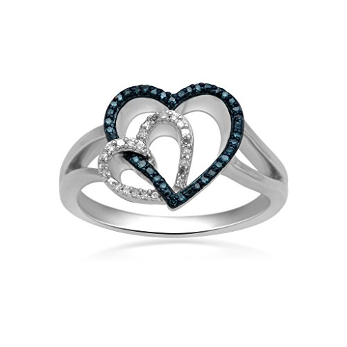 Jewelili Sterling Silver 1/10ct Blue and White Diamond Heart Ring, Size 7