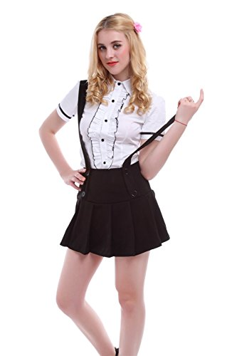 [Nuoqi Womens Pleated Short Braces Skirts Preppy Style Dress Maid Fancy Outfits] (Preppy School Girl Costumes)