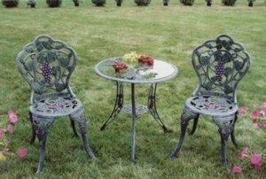 Oakland Living Vineyard Cast Aluminum 24-Inch Glass Top Table with 3-Piece Bistro Set, Antique Bronze Review