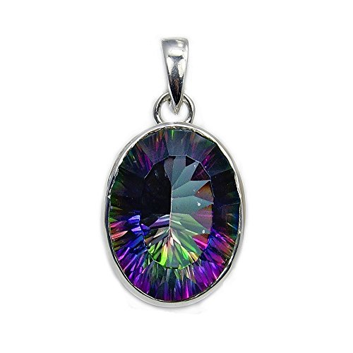 'Rainbow Lights' Sterling Silver Mystic Topaz Pendant ()