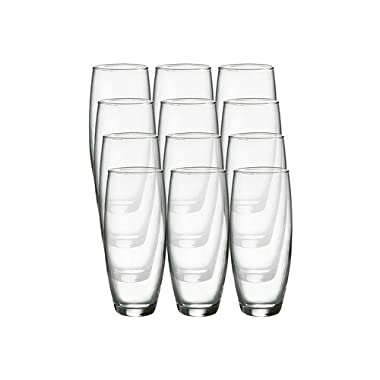 Luminarc Cachet 9-Ounce Stemless Flute Glasses, 12 Pack, Clear