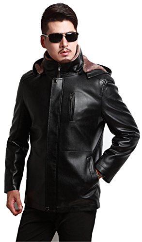 Overcoat Jacket Winter Mens Black Hooded PU Warm Thick Faux WS668 Motorcycle Coat Leather Fur Lined RwfZSPSqH