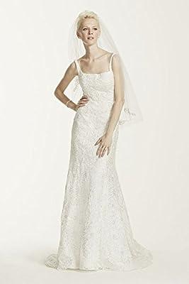 Oleg Cassini Tank Lace Wedding Dress with Beading Style CWG669