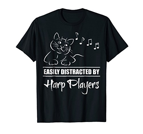 Curious Cat Easily Distracted by Harp Players Music Notes T-Shirt