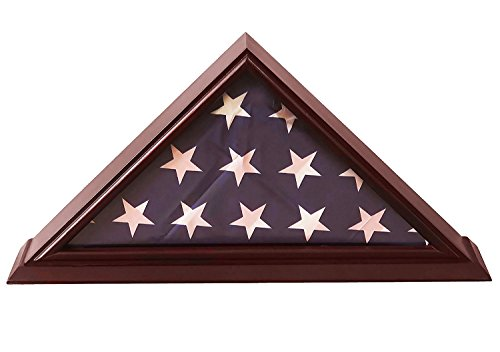 DECOMIL-5×9-Flag-Display-Case-Shadow-Box-For-BurialFuneralVeteran-Flag-with-Cherry-Finish