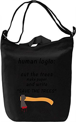 Human logic Borsa Giornaliera Canvas Canvas Day Bag| 100% Premium Cotton Canvas| DTG Printing|