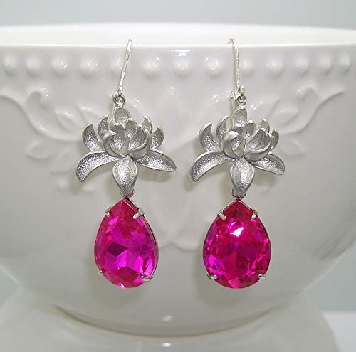 Silver Orchid And Fuchsia Faceted Teardrop Crystal - Faceted Orchid
