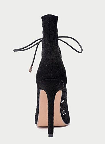 Aisun Damen Sexy Offene Zehen Spitze Schnürsenkel Cut Out Stiletto High Heels Sandale Schwarz