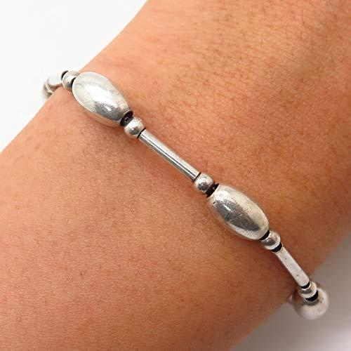 Italy 925 Sterling Silver Bar & Barrel Bead Design Link Bracelet 6 3/4