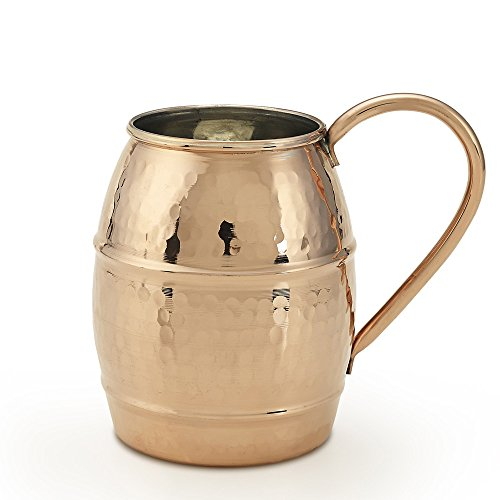 Kuprum Hand Hammered Solid Natural Copper Moscow Mule Cocktail Beer Drinking Mug with Unique Hammer Marks Extra Large 34-Oz