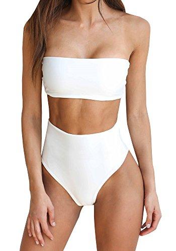 Gemijack Womens High Waisted Bandeau Bikini Set Sexy Plain High Cut Two Piece Swimsuit (Bandeau White Bikini)