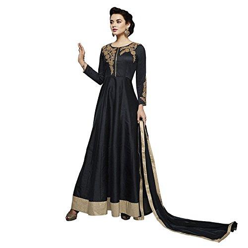 Ready Made Metallic Georgette Embroidered India Pakistan Long Churidar Salwar Suit (Customize (Metallic Silk Suit)