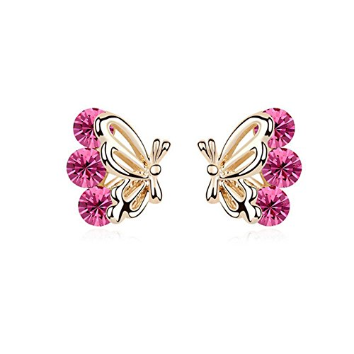 Gorgeous Jewelry Butterfly Wings Diamond Accented Style Beautiful Rose Red Crystal Champagne Gold Plated Color Females Stud Earring (Send Muffin Basket)