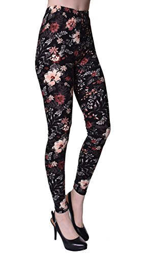 VIV Collection Plus Size Printed Leggings (Seamless Floral)