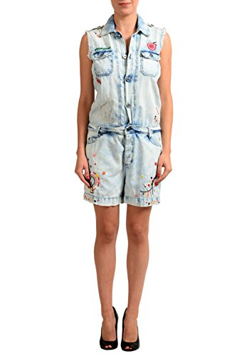 Just Cavalli Linen Blue Denim Embellished Sleeveless Women's Romper US S IT 40 Cavalli Linen