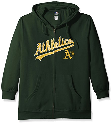 Profile Big & Tall MLB Oakland Athletics Women's Team Full Zip Fleece Hoodie with Distress Word Mark on Chest, 2X, Dark Green – DiZiSports Store