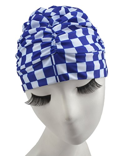 Swim Cap Long Hair Ear Wrap Waterproof Hat For Women And Men Y001  Blue White