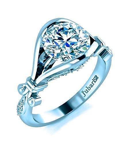 1.25Tcw. Modern Foliage Diamond Engagement Ring Round Custom Tension Set Foloral Vine 14K White Gold Jubariss Fine Jewelry - Round Diamond Brilliant Tension Ring