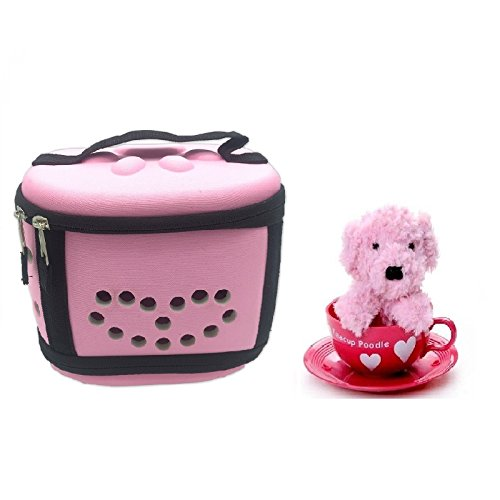 Portable Mini Poodle Puppy Carrier Hamster Cage - Cute Travel Carrier Hard-Sided Cage for Small Animal Puppy Kitty Hedgehog (Pink)