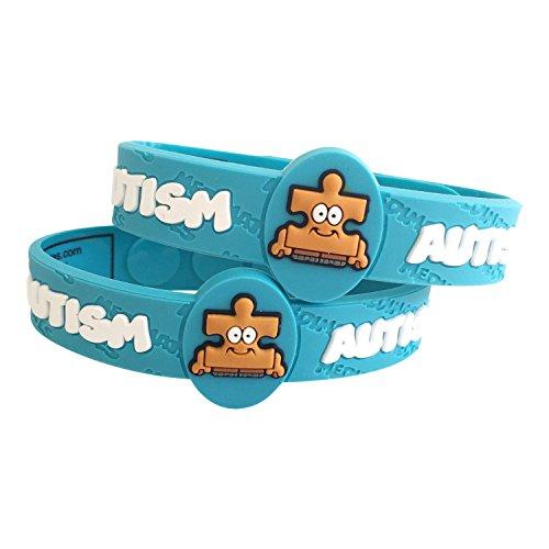 Bracelet Health Awareness - Autism Bracelet for Kids, Medical Wristband for Autistic Kids - Colorful Blue Autism Awareness Bracelet for Kids - Latex Free, Adjustable Autism Wristband for Kids Ages 2+ (2 Pack