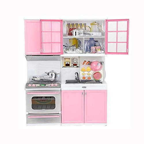 Clearance Sale!DEESEE(TM)Xmas Gift Mini Kids Kitchen Pretend Play Cooking Set Cabinet Stove Girls -