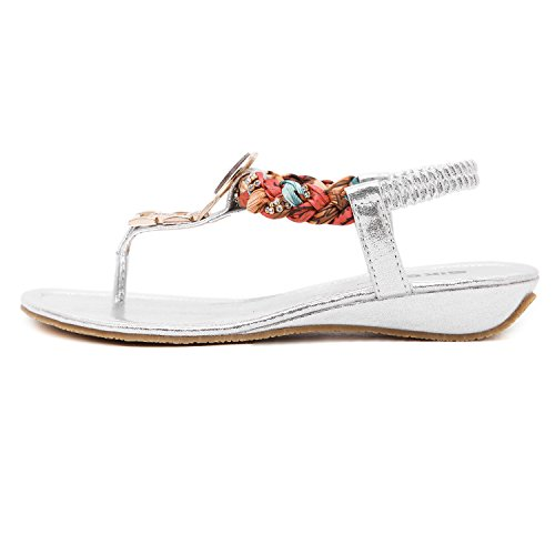 DQQ Damen Exotic Strass Flach Sandale, Gold - Gold - Größe: 37