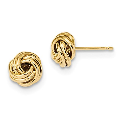 14kt Yellow Gold Polished Love Knot Post Earrings by Perfume4All