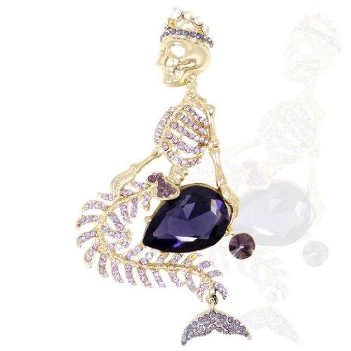 EVER FAITH® Femme Strass Cristal Squelette Couronne Goutte d'Eau Broche Pin Parme Ton d'Or A09501-1