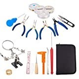 PandaHall Elite 19 Pieces Jewelry Making Supplies Kit with Jewelry Pliers, Magnifier Stand, Crimper Tool, Tweezers, Caliper, Beading Needles, Wire Wrapping, Leather Storage Case Included