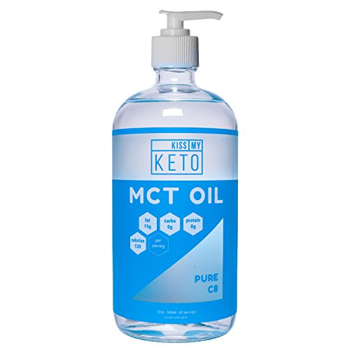 Kiss My Keto C8 MCT Oil - Pure MCT Oil C8 Brain Fuel, 32 oz Glass Bottle with Pump, Best MCT Oil Keto for Ketone Diet, Pure C8 Caprylic Acid, Enhance Ketogenic Performance, Get Into Ketosis