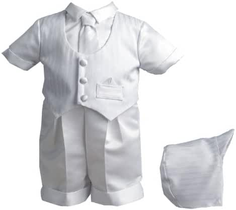 Lauren Madison baby boy Striped Vestie Set With Satin Boxer Short