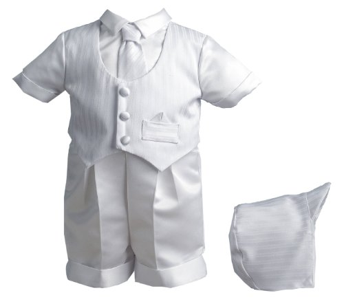 Lauren Madison baby boy Christening Baptism Special occasion Infant Satin Striped Vestie Set With Satin Boxer Short, White, 9-12 Months