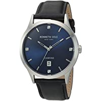 Kenneth Cole New York Men's 'Diamond' Quartz Stainless Steel and Leather Dress Watch, Color:Black (Model: 10030784)