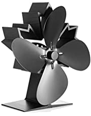 Fireplace Fans, CRSURE 4 Blades Heat Powered Stove Fan, Wood Stove Fans for Stoves&Fireplaces with Stove Thermometer, Silent and Eco Friendly