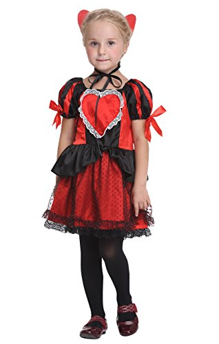 Girlscos Girl's Queen of Hearts Costume Dress 2 Piece Suit Kids Halloween Cosplay Costumes Large (Cute Halloween Costumes For Girl Couples)