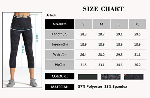 Dragon Fit Compression Yoga Pants Power Stretch Workout Leggings with High Waist Tummy Control (Small, Capri-Camo)