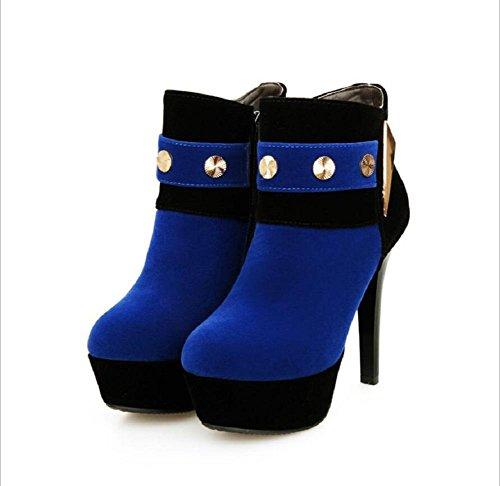 Botas de cremallera de lateral de talón de estilete tobillo de las mujeres desnuda blue