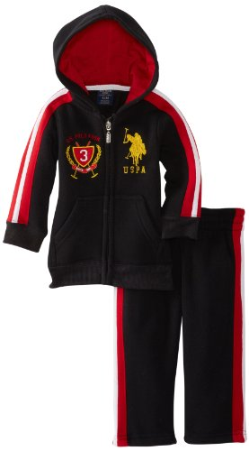 U.S. Polo Assn. Baby Boys' Zip Up Hoodie and Track Pant, Black, 12 Months ()